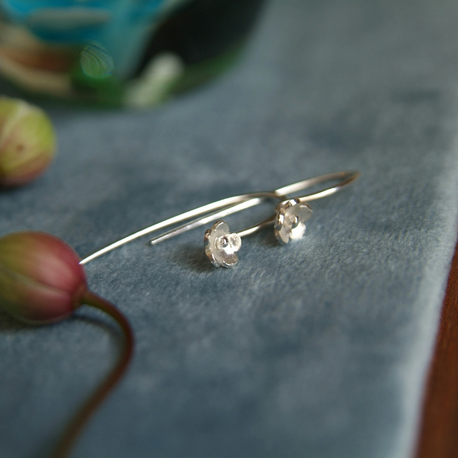 Forget-Me-Not Earrings, Silver Flower Stem Earrings