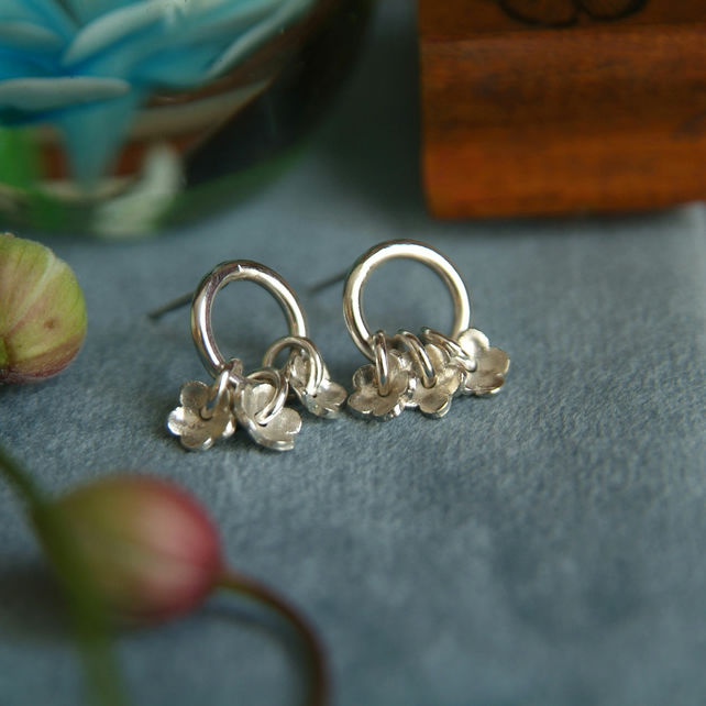 Forget-Me-Not Earrings, Silver Flower Drop Earrings