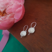 Silver Peony Earrings, Sterling Silver Flower Drops, Botanical Jewelry