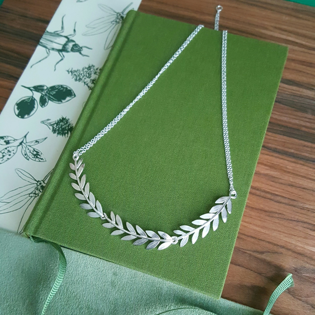 Olive Branch Collar Necklace - Silver Leaf Necklace