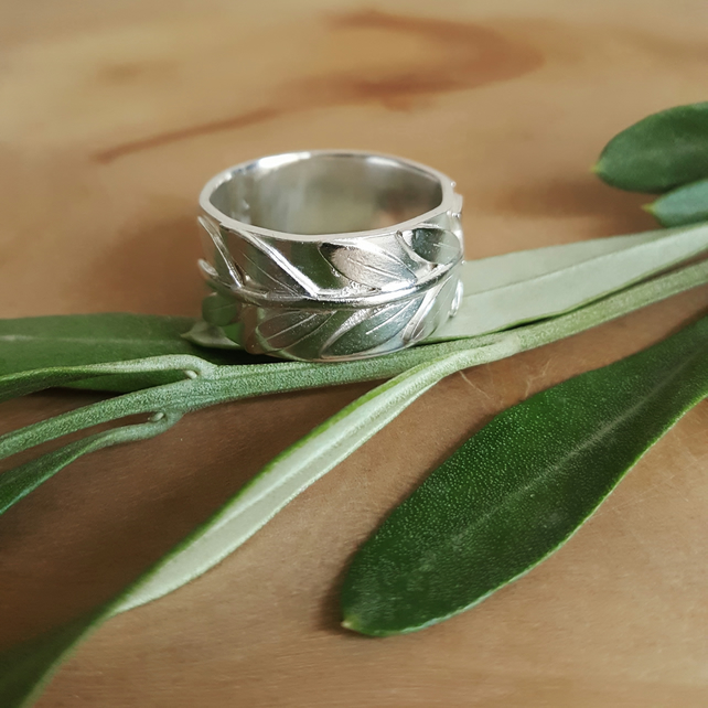 Olive Branch Ring - Handmade Band in Sterling Silver