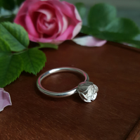 Silver Rose Ring, Handmade Rosebud Flower Ring