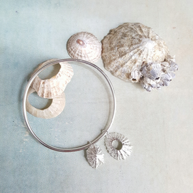 Silver Shell Bangle, Limpet Shell Beach Bracelet