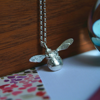 Silver Bumble Bee Necklace, Handmade Sterling Sliver Bee Pendant