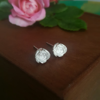 Rosebud Earrings, Silver Flower Studs, English Rose Bud, Handmade Jewellery