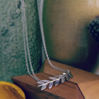 Olive Branch Necklace - Silver Leaf Jewellery