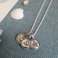 Nautical Necklace, Anchor, Sailboat & Star Charm Pendant