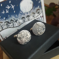 Moon Cufflinks, Silver Men's Jewellery, Full Moon Celestial Cufflinks