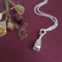 Poppy Necklace, Sterling Silver Cast Poppy Seed Pod, Flower Jewellery