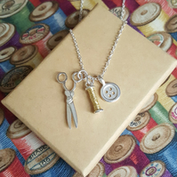 Sewing Charms Necklace, Gift for Maker, Button, Bobbin & Scissors