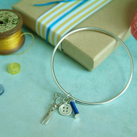 Sewing Bracelet with Silver Scissors, Bobbin & Button Charms