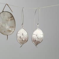 Silver Honesty Seed Pod Handmade Earrings