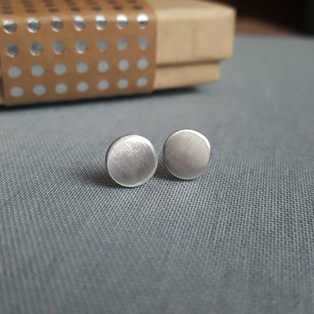 Matt Finish Silver Studs - Minimalist Circle Earrings
