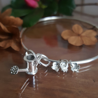Gardening Bracelet, Watering Can & Tiny Flower Charms Bangle