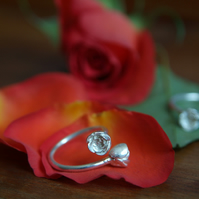Rose Ring, Sterling Silver Rosebuds Ring,