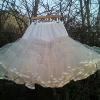 "27"" Ivory 2 Layer Petticoat with Ribbon trim"