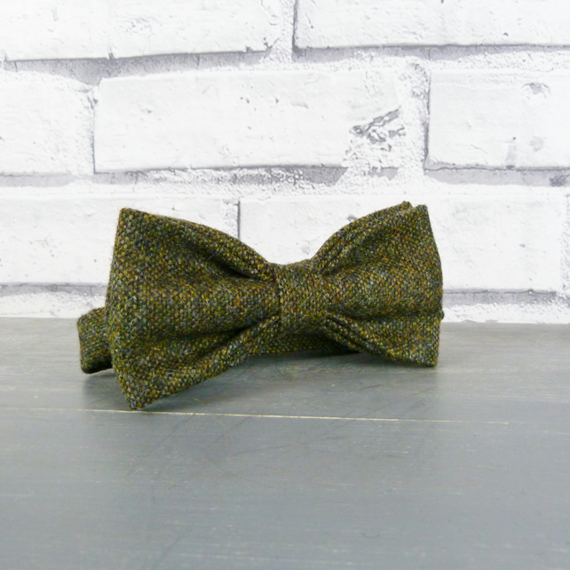Mens Bow Tie - Dark Green Birdseye Tweed