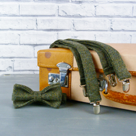 Yorkshire Tweed Bow Tie and Braces - Dark Green Birdseye