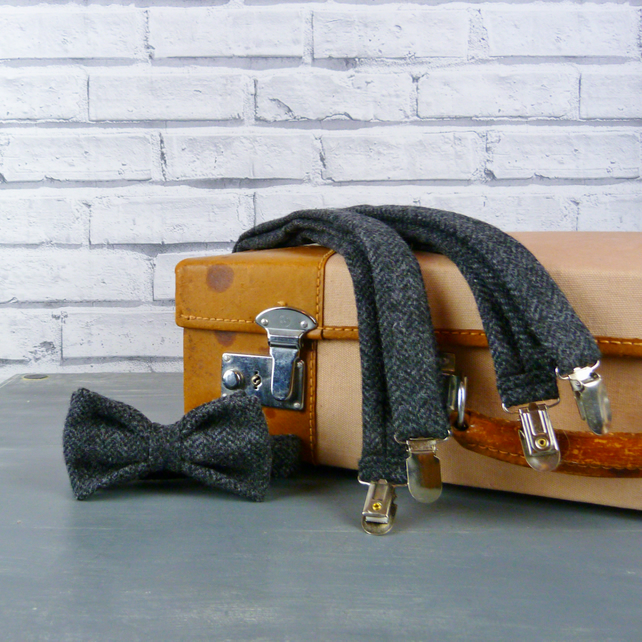 Yorkshire Tweed Bow Tie and Braces - Charcoal Herringbone