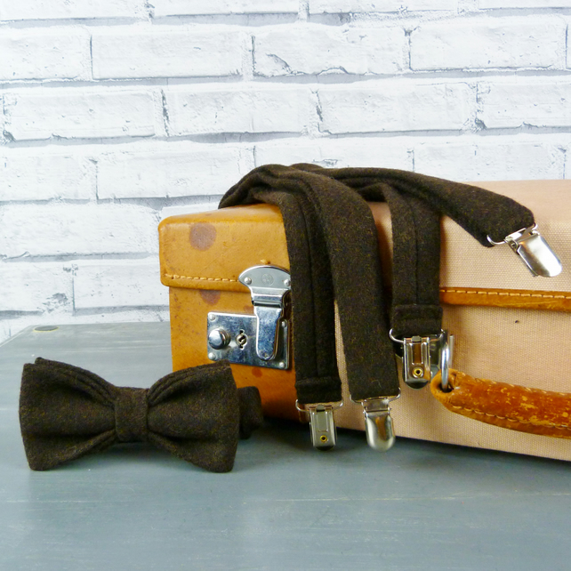 Yorkshire Tweed Bow Tie and Braces - Dark Brown Twill