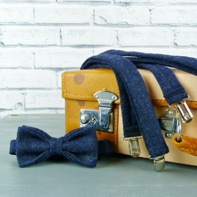 Yorkshire Tweed Bow Tie and Braces - Navy Twill
