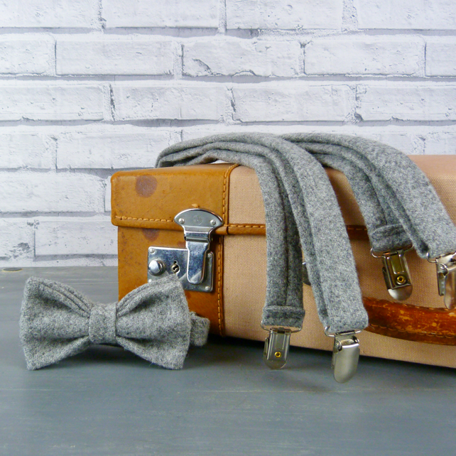 Yorkshire Tweed Bow Tie and Braces - Grey Twill