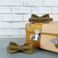 Father and Son Yorkshire Tweed bow tie set - brown  birdseye