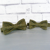Father and Son Yorkshire Tweed bow tie set - dark green birdseye