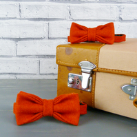 Father and Son Yorkshire Tweed bow tie set - Burnt Orange Twill