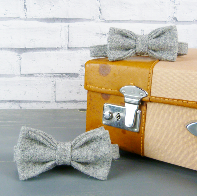 Father and Son Yorkshire Tweed bow tie set - Grey Twill