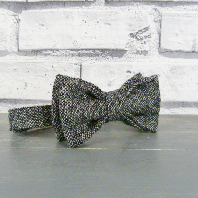 Boys Bow Tie - Black Grey Yorkshire Birdseye Tweed