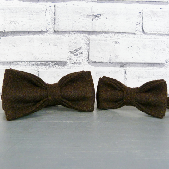 Father and Son Yorkshire Tweed bow tie set - Brown Twill