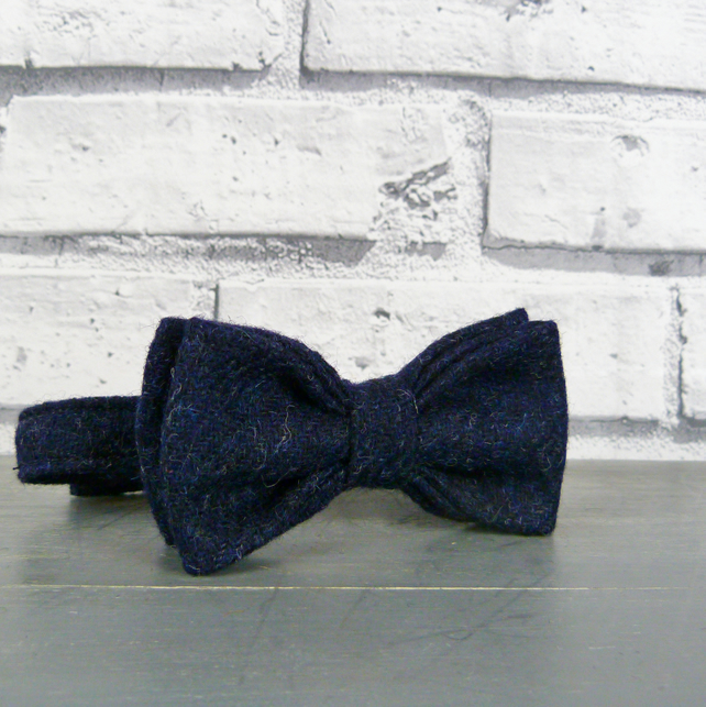 Boys Bow Tie - Navy Yorkshire Twill Tweed