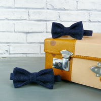 Father and Son Yorkshire Tweed bow tie set - Navy Twill