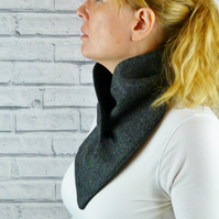 Buttoned Scarf - Charcoal Yorkshire Herringbone Tweed