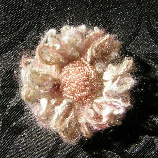 Beaded yarn flower brooch
