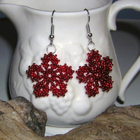 Ruby red flowers earrings