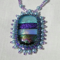 Atlantica Beaded Dichroic glass pendant necklace OOAK