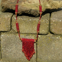 Kasbah fringed beadwork necklace