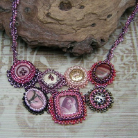 OOAK vintage ephemera  beadwork bib necklace