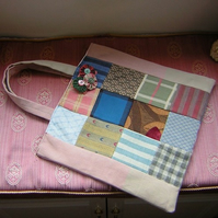 Patchwork tote bag and FREE fabric brooch