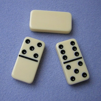 De-stash - 3 cream plastic dominoes for altered art/ pendant making