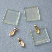 De-stash - set of 3 glass tiles and 3 bails for pendant making
