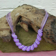 LILAC TIME spiral swirl beadwork necklace