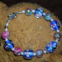 SALE now HALF price Forget me not lampwork beads bracelet