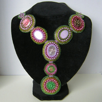 Fantasia freeform bead embroidery necklace by Beadyjan
