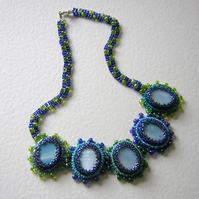 Nyneva Bead embroidery blue necklace