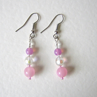 Pretty pink beaded earrings