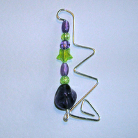 Beaded Bookmark purple and green