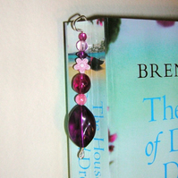 Beaded Bookmark Purple and Pink